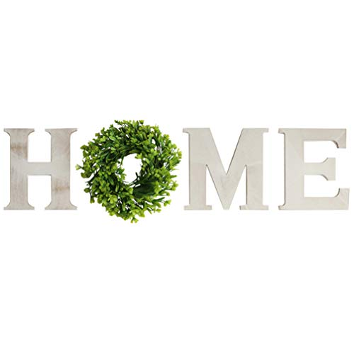 WINOMO Wooden Home Letters with Wreath Rustic Wood Home Sign Artificial Boxwood Wreath for Christmas Home Wall Ornament Decoration White