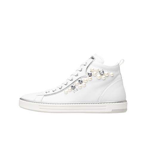Nero Giardini P805271D Sneakers Alte Donna in Pelle E Tela - Bianco 35 EU