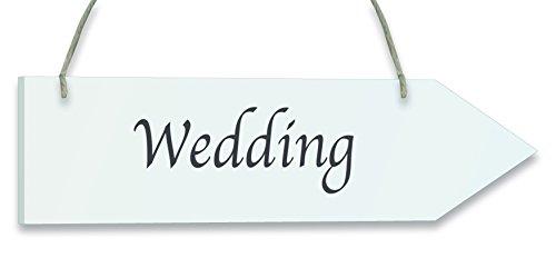 Oaktree Pfeil Hochzeit zum Aufhängen, Holz, Weiß, 35x 9x 0,5cm