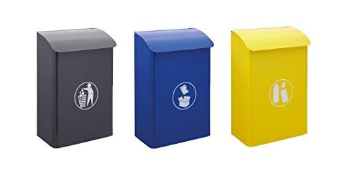 Arregui E6110 Pack 3 Papeleras Murales de Acero para interiores y zonas comunes, papeleras para reciclaje y recogida selectiva, papeleras de pared, 30L x 3 (90L)