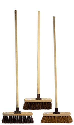 Newman and Cole 10' Garden Broom Set Includes Stiff & Soft Bristle Brush Head and Handles - Pack of 3...