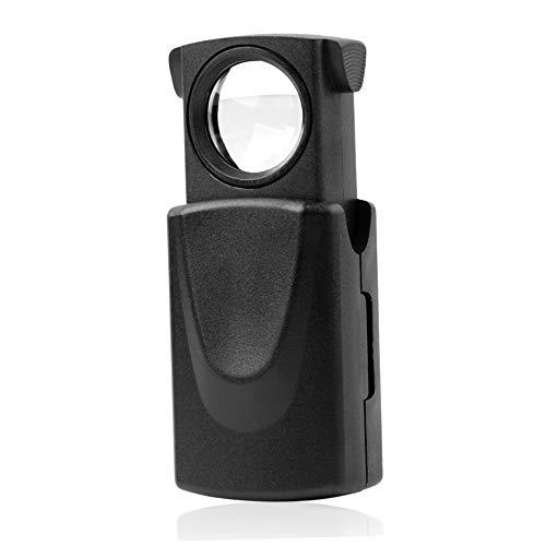 SENZHILINLIGHT 1 Pieza Mini Bolsillo 30x21mm microscopio Negro LED Ojo Plegable Lupa...