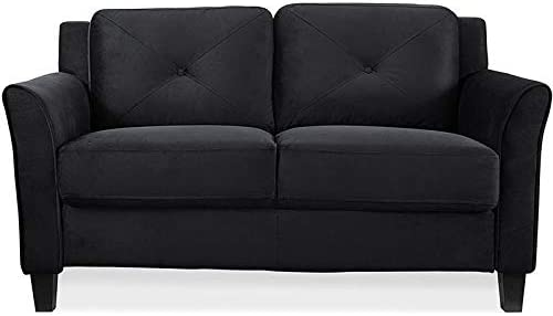 Best BOWERY HILL Microfiber Loveseat Couch in Black