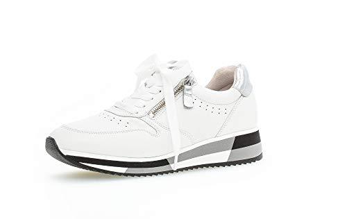 Gabor Damen Sneaker, Frauen Low-Top Sneaker,Best Fitting,Reißverschluss,Optifit- Wechselfußbett, schnürer schnürschuh,Weiss/Silber,40 EU / 6.5 UK