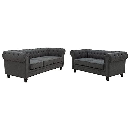 Sofás y camas, sofá Longford Chesterfield, lujosos juegos de sofá de 2 y 3 plazas, sofá para sala de estar, muebles estilo Chesterfield, comodidad y estilo, gris.