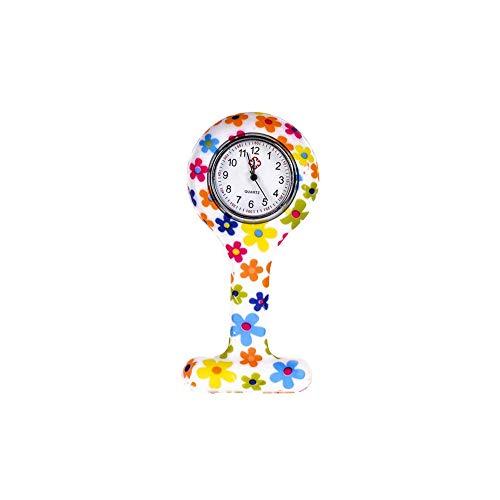 Colgando reloj de bolsillo, moda floral clip de la enfermera de tipo T Fob de la broche de la jalea del silicón, reloj de la solapa para la muchacha de las mujeres 86x41mm (batería incorporada)