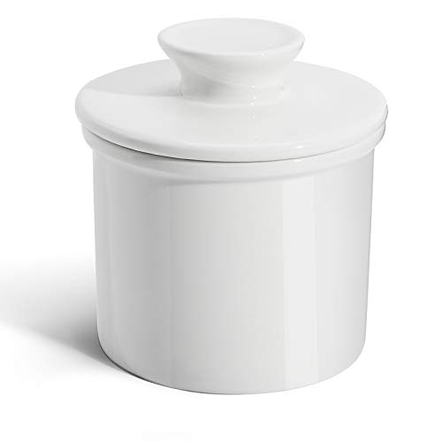 Sweese 305.101 Porcelain Butter Keeper Crock - French Butter Dish - No More Hard Butter - Perfect Spreadable Consistency, White