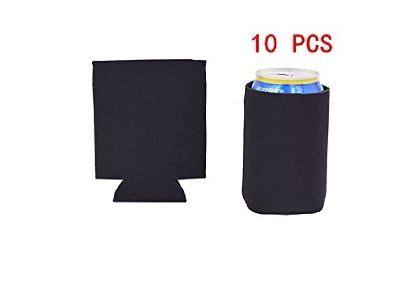 Lucky Life 12OZ /330ML Collapsible Neoprene Can Holder Cooler Sleeve Coolie for Cola/Beer/Soda- 10 pack (BLACK)