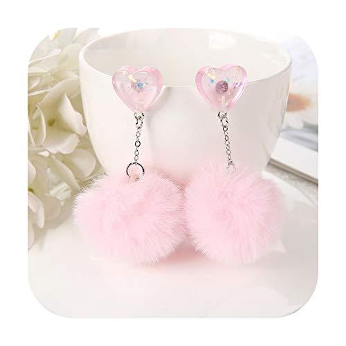 1 par de pendientes de tuerca de resina multicolor corazón caramelo con bola globo pendientes de moda mujer joyería regalo de cumpleaños rosa