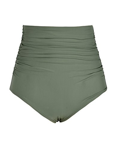 Hilor Women's High Waisted Bikini Bottom Shirred Hispter Tankini Briefs Swim Shorts Army Green 20