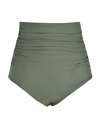 Hilor Women's High Waisted Bikini Bottom Shirred Hispter Tankini Briefs Swim Shorts Army Green 18