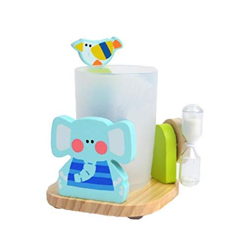 linjunddd Entzückende Zahnpasta Zahnbürstenhalter Standplatz mit Cup und 3 Minuten Sandborduhr Saugfuß aus Holz Badezimmer Aufsatz- Halter für Kinder Multicolor Elefanten Stil 1PC