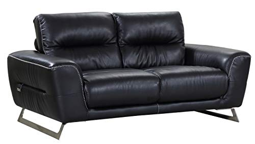 HomeRoots Leatherette Sofa Futon, Black