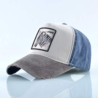 Gorra de béisbol Unisex Hombres Mujeres Moda Snapback Sombrero Primavera Verano Algodón Lavado Denim Hip HopCasquette-Brown Zebra
