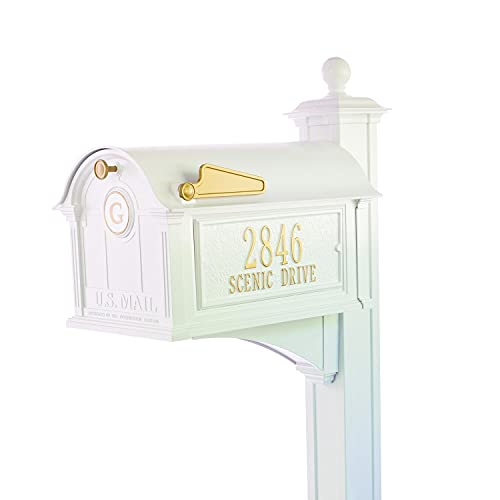 Whitehall Custom Balmoral Extra Large Mailbox with Monogram and Deluxe Side Mount Post Package - Sand Cast Aluminum - White Personalized in Goldtone