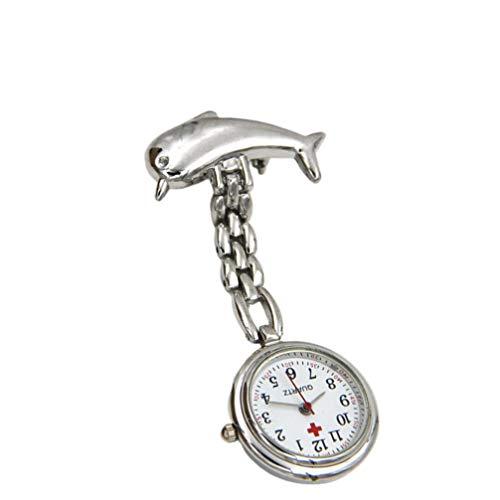 Hemobllo - Reloj de bolsillo profesional para enfermeras y médicos, diseño de delfín, color plateado