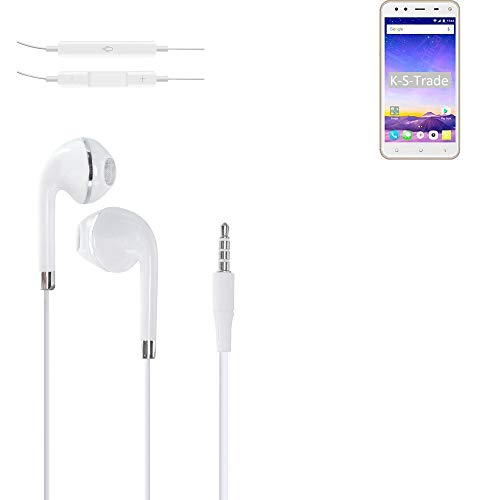 K-S-Trade Kopfhörer Für Mobiistar XQ Dual Mit Mikrofon U Lautstärkeregler Weiß 3,5mm Klinke Headphones Ohrstöpsel Ohrstecker Stereo Headset Universell Verwendbar