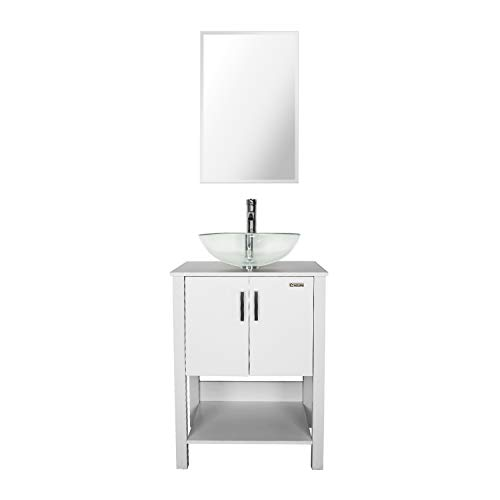 eclife 24'' Bathroom Vanity Sink Combo White Cabinet Round Frosted Tempered Glass Vessel Sink & 1.5 GPM Water Save Faucet & Solid Brass Pop Up Drain, with Mirror (A16B12W)