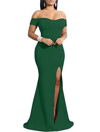 YMDUCH Women's Off Shoulder High Split Long Formal Party Dress Evening Gown Dark Green