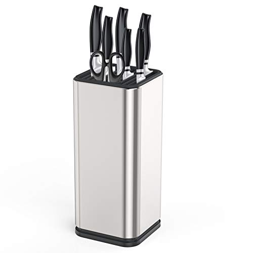 Knife Block Storage Kitchen Knife Stand Holder Stainless Steel Knife Holder 6 Slots with Anti-slip Pad Without Knives