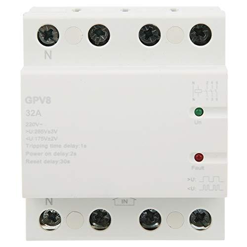 Mxzzand Fabricación Profesional, Larga duración, Voltaje de 220 V, Dispositivo de protección, Protector de sobretensión de Voltaje para GPV8‑4p ‑ D, sobretensión de 220 V con luz LED(32A)