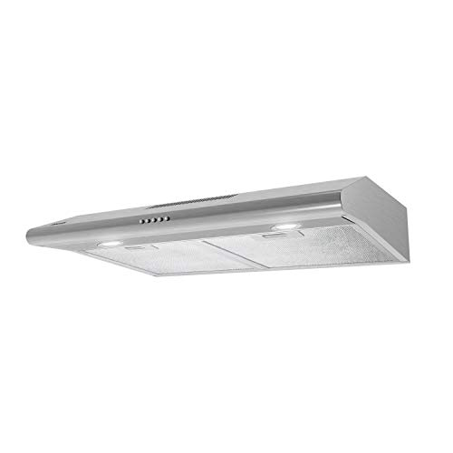Range Hood 30 inch,FIREGAS Under Cabinet Range Hood, 200 CFM Stove Hood with Ducted/Ductless Convertible, Slim Vent Hood with 3 Speed Exhaust Fan, Aluminum Mesh filters,Led Lights,Charcoal Filter