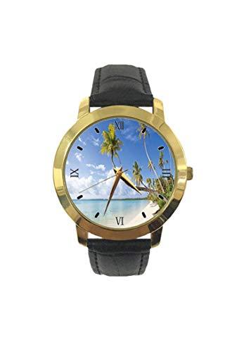 Tropische Szene der Langen Palmenblätter und den Strand Mode Herren Armbanduhr Quarz Lederband Freizeit Uhr
