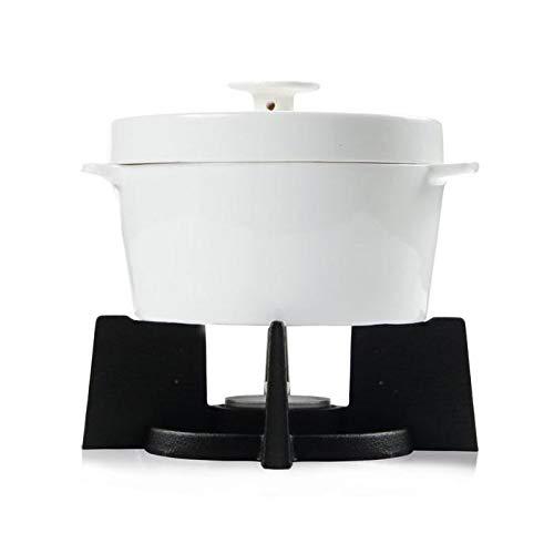BOSKA 340033 Cassolette à Fromage Set 143x143x146mm 4 pièces, Fonte, Blanc/Noir, 14,3 x 14,3 x 14,6 cm