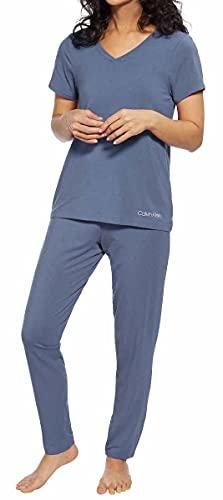 Calvin Klein Womens 2 Piece Pajama Set (Scorched Denim, Small)