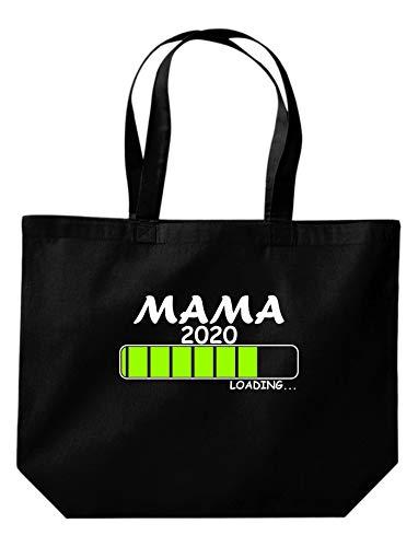 Shirtinstyle Stoffbeutel Jute, MAMA 2020 Loading, Logo, Spruch, Verwandschaft, Mann, Frau, Ehe, Liebe, Motiv, Farbe Schwarz