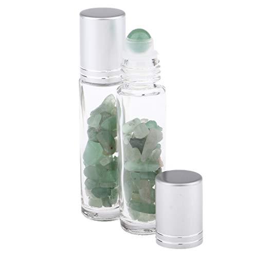 chiwanji 2x Bouteilles Vide en Verre Rouleau en Pierre Naturelle à Billes pour Huiles Essentielles Huiles de Parfum et Liquides - 10 ml - Aventurine verte