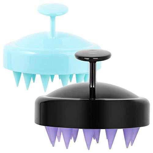 Hair Scalp Massager Wet Head Brush Shampoo Dry Scalp Care Brush with Soft Silicone Head Dandruff Brush Pack of 2