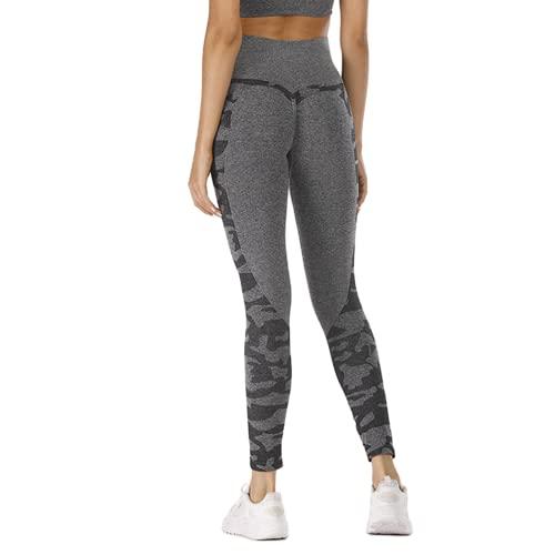 Pantalones de Yoga para Gimnasia sin Costuras para Mujeres Cintura Alta energía Push-ups Celulitis Leggings Camuflaje Fitness Pantalones de Yoga B S