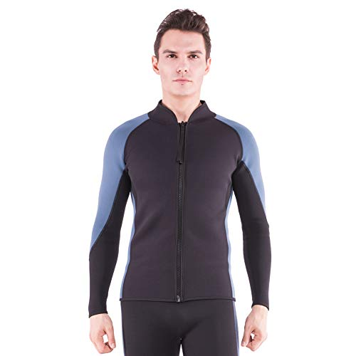 Flexel Men's Wetsuit Tops 2MM Neoprene Women Wetsuit Jacket Long Sleeves Front Zip Diving Top for Surfing Snorkeling Swimming Kayaking Canoeing (2mm Jacket Navy, Large)
