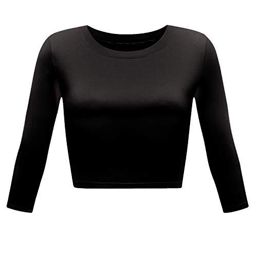 Women's Basic Round Neck 3/4 Sleeve Crop Top (Black, Small)