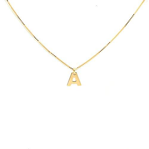 ELEA MONTECARLO Cadena + Chapita Inicial (Altura 5 mm de diámetro Aprox.) Colección Alphabet Oro Amarillo Tit. 375/1000 Cadena (42 cm Aprox.) Producido en Italia