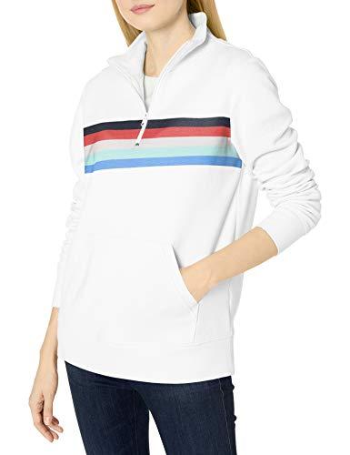 Amazon Essentials Long-Sleeve Lightweight French Terry Fleece Quarter-Zip Top Outerwear-Jackets, Bianco/Posizionato Multi Stripe, S