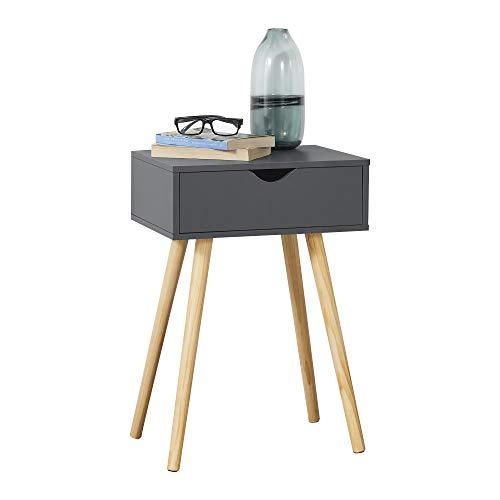 [en.casa] Beistelltisch Östersund mit Schublade 60x40x30 cm Kommode Retro Nachttisch Schubladentisch Massivholz Spanplatte Dunkelgrau