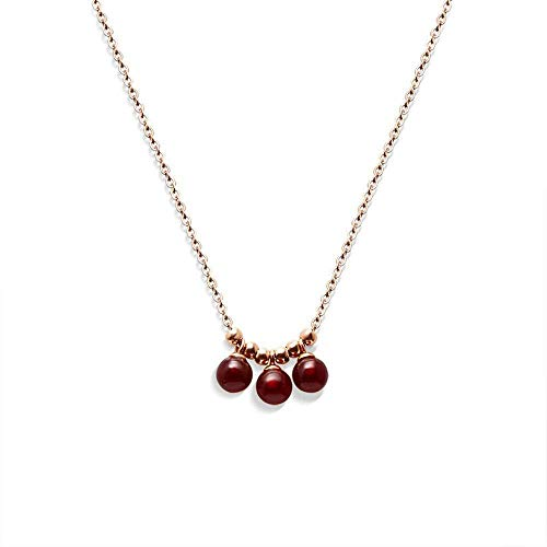 OlovdHit Collar Perlas Rojas con Flecos Color Oro Rosa Par De Ágata Dorada Regalo De Joyería