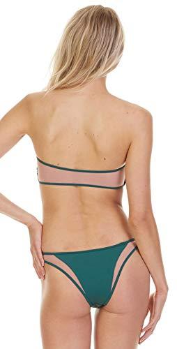 Tori Praver Women's Fine Rib Brazilian Bikini Bottom Emerald L
