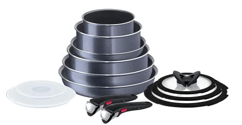 Tefal Ingenio Elegance Non-Stick Cookware Set, 13 Pieces, Grey, L2319042