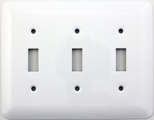 Mulberry Princess Style White Three Gang Toggle Switch Wall Plate
