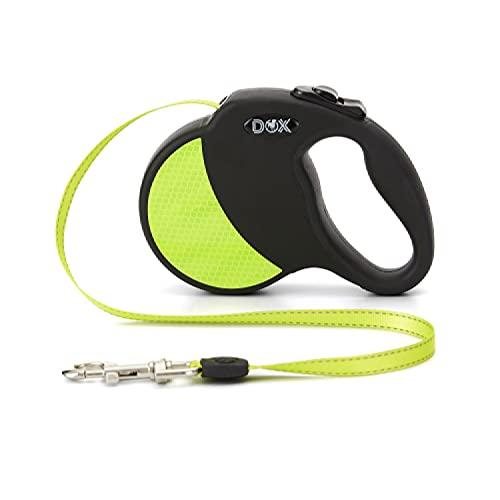 DDOXX Roll-Leine reflektierend, ausziehbar | viele Farben & Größen | für kleine & große Hunde | Gurt-Leine Hundeleine einziehbar Welpe Katze | Hundeleinen Zubehör Hund | M, 5 m, bis 20 kg, Gelb