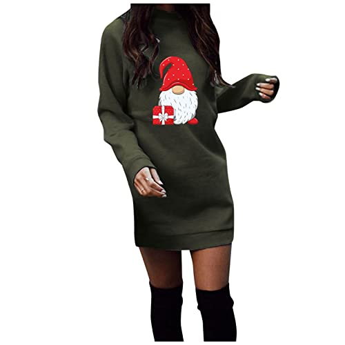 XUNN Vestito natalizio da donna, a maniche lunghe, sexy, per feste, Natale, cartoon stampe, casual, autunno, inverno, #002-verde militare, L