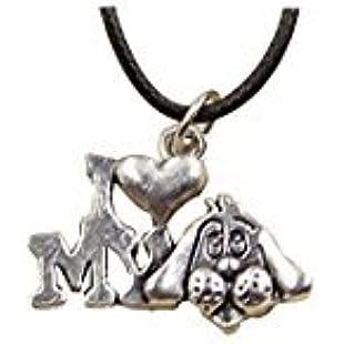 Fashion Tibetan Silver Pendant I love my dog Necklace Choker Charm Black Leather chain