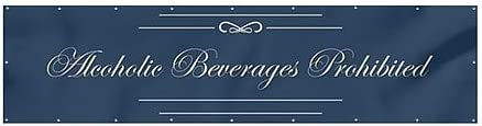 CGSignLab 12x3 Alcoholic Beverages Prohibited Classic Navy Wind-Resistant Outdoor Mesh Vinyl Banner