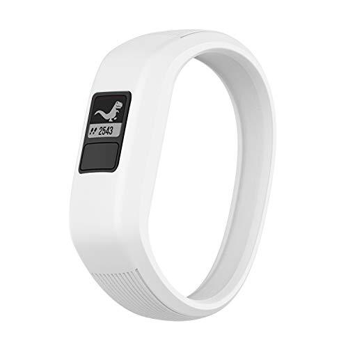 TopTen Correa de silicona suave de repuesto para reloj Garmin Vivofit JR/Vivofit JR 2 / Vivofit 3 Pulsera de actividad infantil (blanco, grande)