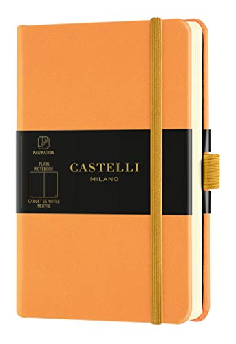 Castelli Milano AQUARELA Clementine Taccuino 9x14 cm Pagina Bianca Copertina Rigida Colore Arancione Pastello 192 Pag