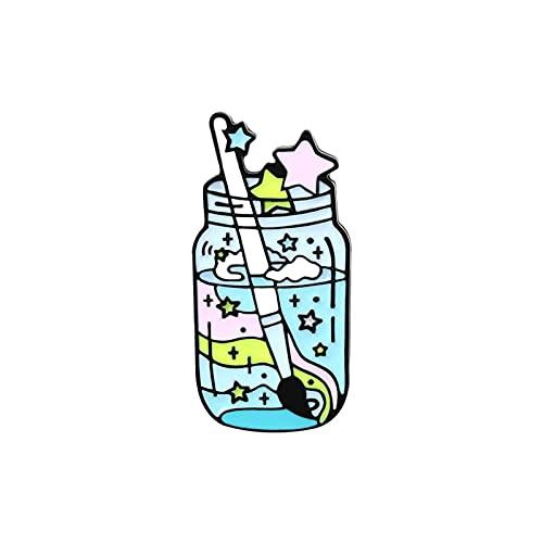 N\C Alfileres de Esmalte Broches de joyería Insignias Sueños Coloridos Botella de Pintura de Jugo de Fruta Moda Pin Lindo S para Amigos