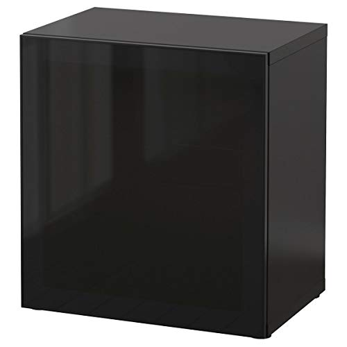 IKEA BESTÅ Estantería con puerta de cristal 60x40x64 cm negro-marrón/Glassvik negro/cristal ahumado